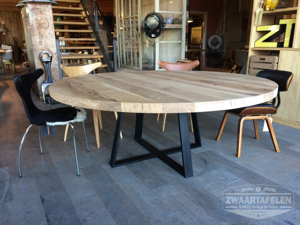 Keukentafel Kopen : Ronde tafel stalen onderstel massief eiken
