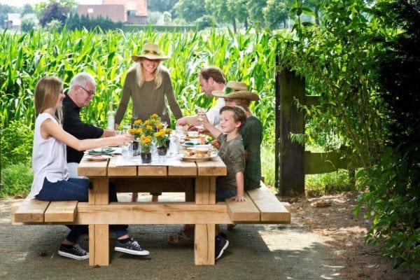 Eiken picknicktafel massief eiken buiten tafel