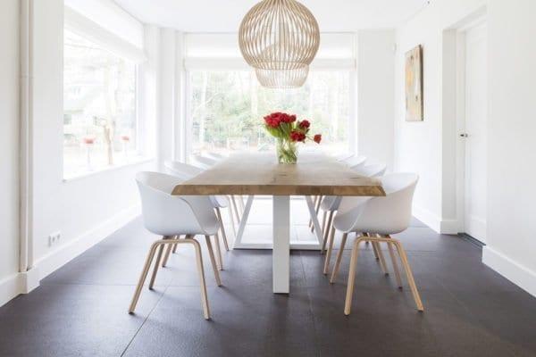 Tafels met stalen onderstel zwaartafelen made in holland - Tafel eetkamer hout wit ...