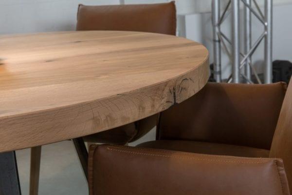 Massief eiken ronde horeca tafel