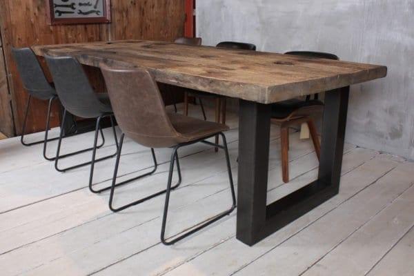 Oud eiken wagondelen tafel Zwaartafelen
