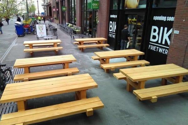 Massief bilingahouten picknicktafel