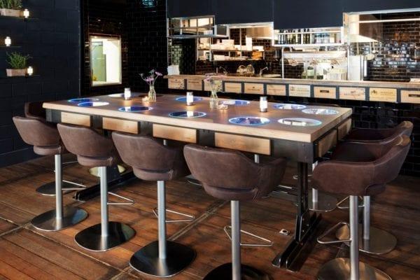 Massief eiken chef's table met Led Verlichting