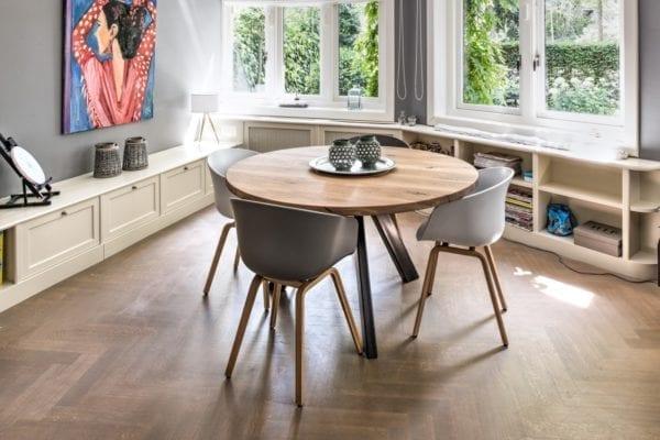 Massief eiken houten ronde tafel op maat